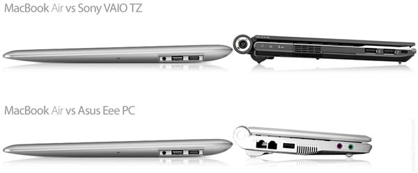 Comparación del Macbook Air con VAIO y ASUS