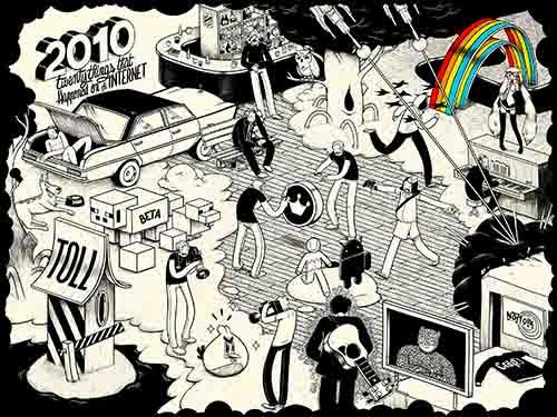 Este dibujo muestra 20 importantes eventos de Internet