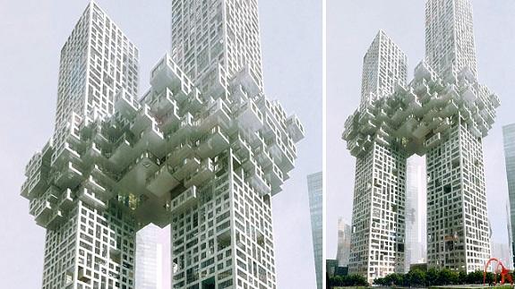 lo ultimo en arquitectura edificios conectados por nubes